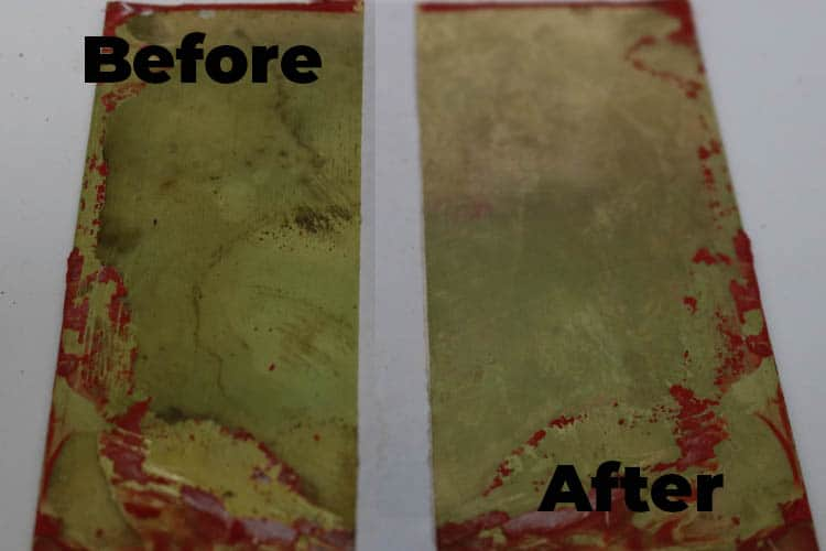 Before after cleaning brass with ketchup