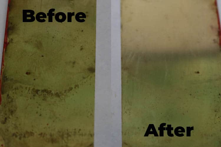 Before after cleaning brass with vinegar