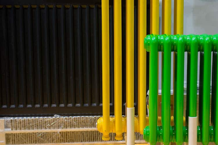 Radiators painted in bright colours
