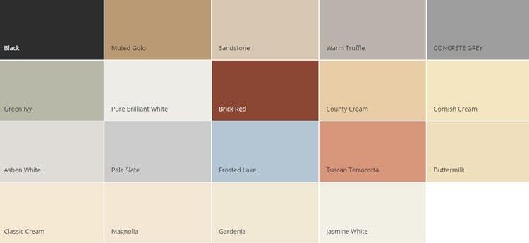 Dulux Weathershield Masonry Paint Colour Chart