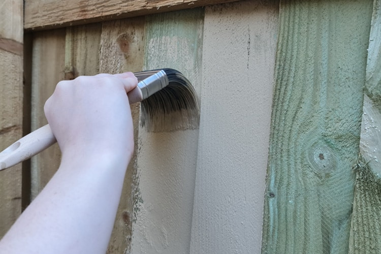 Green Treated Featherboard being painted with masonry paint