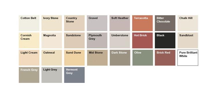 SandTex Masonry Paint Colour Chart