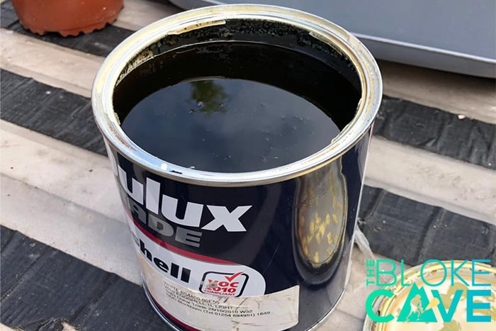 Separated paint in tin