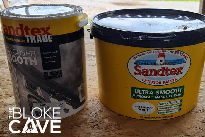 The two masonry paints i will be using