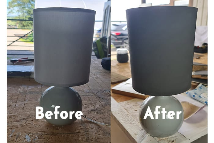 Before and After of painting a lampshade with chalk paint