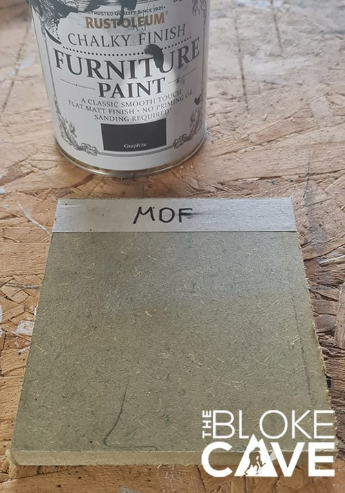 The MDF sample I will be painting with chalk paint