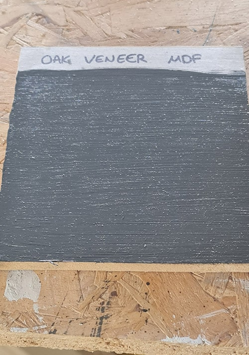 The oak veneer fully painted with chalk paint